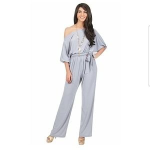 Pants - Pastel Off Shoulder Jumpsuit